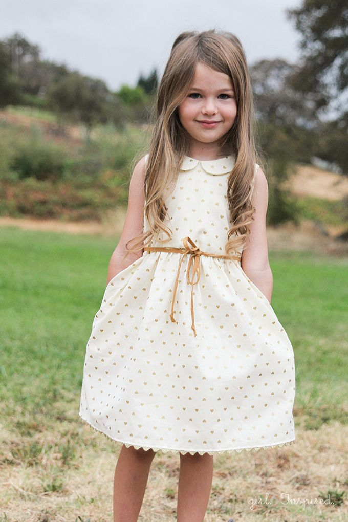 Gold Hearts Dress | Little girl dress from @girlinspired | White and gold dress