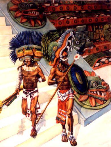 Spain / Battles, Knights - Según la leyenda, sería en Teotihuacán donde los dioses habrían nacido. En este lugar donde el Sol y la Luna se elevaron hacia el cielo, como testimonian las dos pirámides que les consagraron. No es asombroso que todas las civilizaciones de la meseta mexicana dijeran descender de la civilización de Teotihuacán. El sitio es grandioso y tan imponente que parece realmente haber sido construido por dioses. - warriors of Teotihuacan