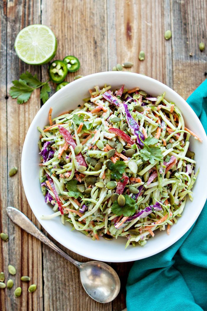 This Cilantro Lime Broccoli Slaw is  a tasty side dish to accompany any Mexican inspired meal. Pre-packaged shredded broccoli, carrots, red cabbage are tossed with jalapeño, lime, red onion, and red bell pepper for a refreshing side salad. @goodlifeeats www.goodlifeeats.com