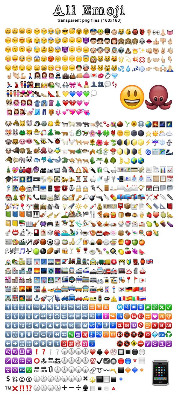 Collection of the famous Emoji...used by Whatsapp and so on All of them are size 160x160 and transparent. They are only bitmaps, although I wish I had vectorized, scalable versions. I got some idea...