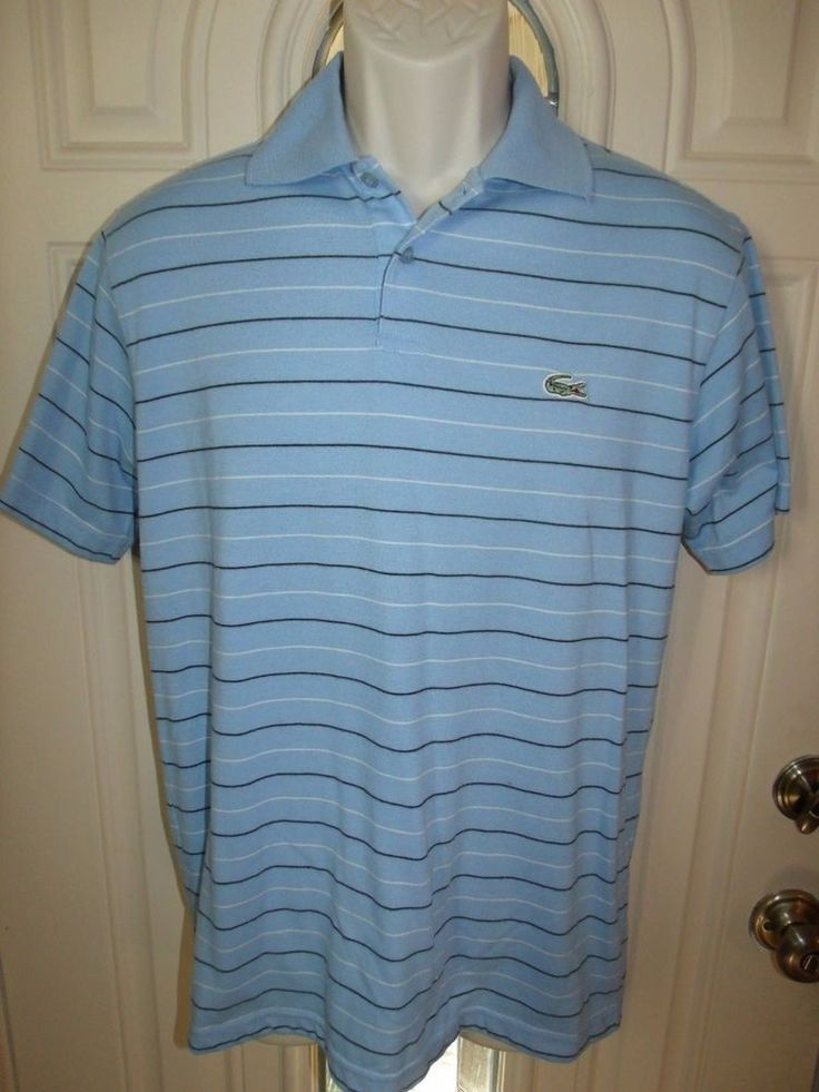 Lacoste Men's Blue Striped Polo Golf Shirt Size 3 #Lacoste #PoloRugby