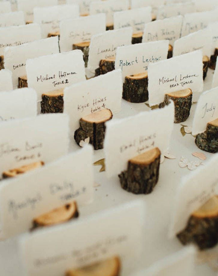 wedding table name card size%0A    Wood Place Card Holders with Bark   Inch   Place card  Woods and Weddings