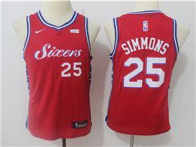 0f4315705a84 Philadelphia 76ers  25 Ben Simmons Youth Red Swingman Jersey ...
