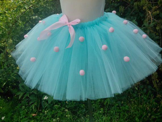 Pompom tutu – aqua tutu – baby tutu – girl tutu – birthday tutu – party tutu – tutu skirt – fluffy tutu – tutu skirt