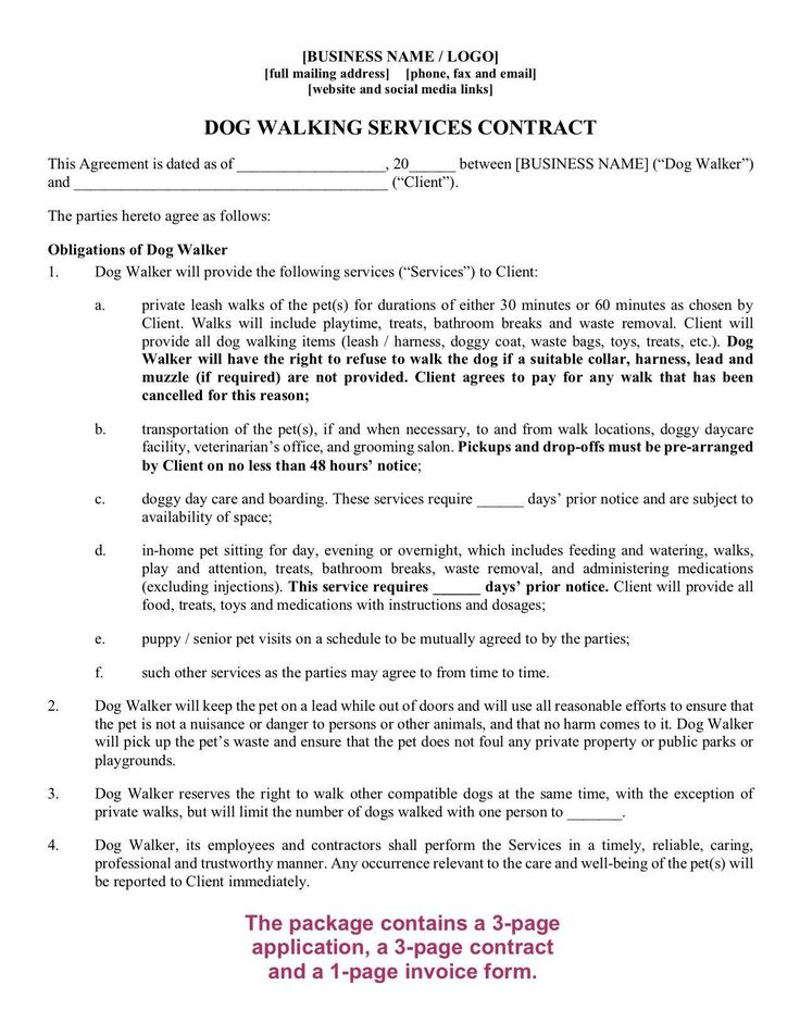 Dog Walking Contract Template Luxury Dog Walker Contract