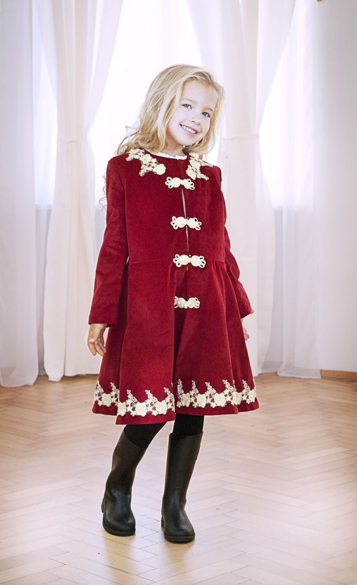 Designers for kids, red velvet coat with lace for a fairytale look for little girls, fashion for kids designed by talented romanian designer or Rhea Costa