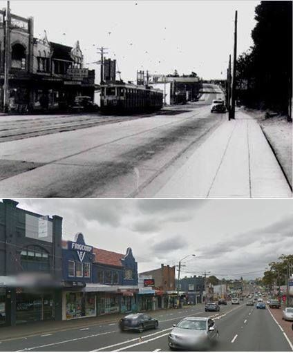 Victoria Road, Gladesville, looking west from Pittwater Road 1940s > 2014 [Old Gladesville People FB site > Google Street View 2014. By Les de Belin]