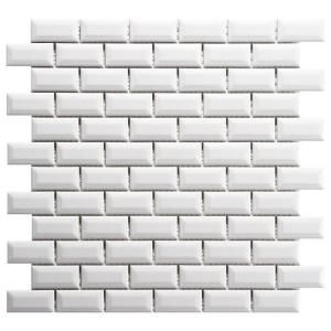 Merola Tile Metro Subway Beveled Glossy White 12 in. x 12 in. Porcelain Mosaic Floor and Wall Tile (10 sq. ft. / case)-FXLMSBGW at The Home Depot