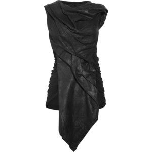 Discount Rick Owens Leather-front and cotton-blend tunic