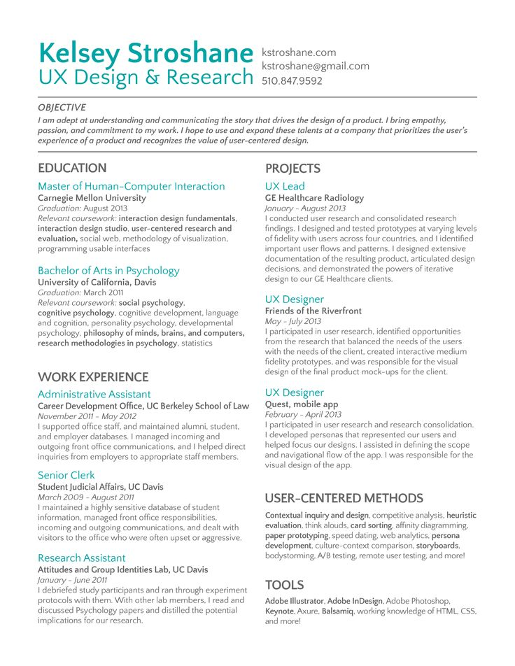 ux designer resume projects and work experience section