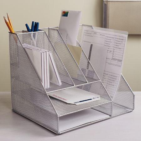 mesh desk organiser silver