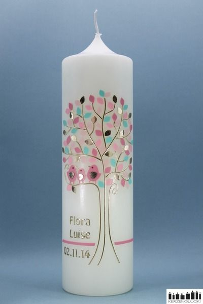 Taufkerze+Lebensbaum+mit+Vogelfamilie-gold/rosa+von+Kerzenglück!+auf+DaWanda.com