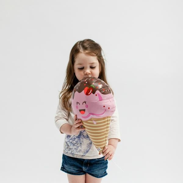 "Ice cream cone balloons are simply the cutest. Little balloons on sticks need no helium - adorable 14"" Ice Cream Balloons"