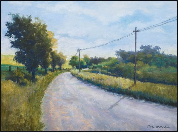 Country Road in Midi-Pyrénées by Olli Malmivaara,  Soft pastel painting on sanded paper 30 x 23 cm