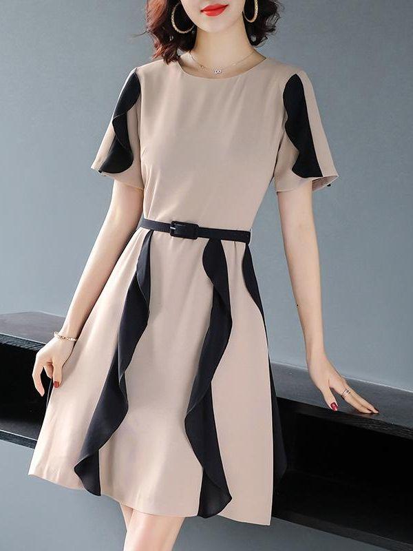 d8a12563ffdd Contrast Falbala O-Neck Short Sleeves Daily Dresses in 2019 | Women Daily  Dress | Daily dress, Short sleeves, Dresses