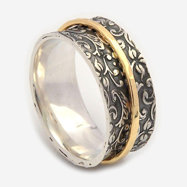 Cool Spinner rings for women Oxidized floral base Spinner band Meditation rings Nature Inspired Gold spinner Silver wedding rings