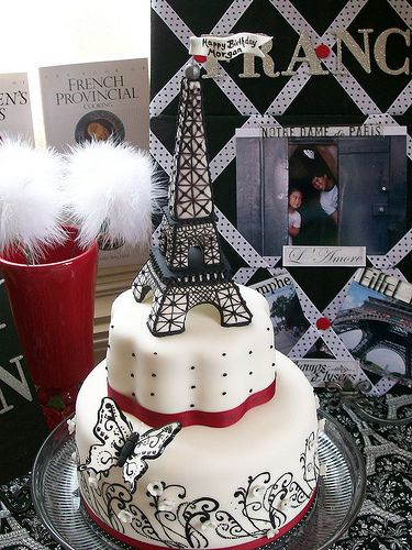 OMG!!! I love this cake- use my blue instead of the red, take off the butterfly, and add a Fleur De Lis- and it's perfect!!!!! Paris, Eiffel Tower Cake by Rook No. 17, via Flickr