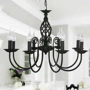 Black Fixture 8-Light Wrought Iron Material Chandeliers 27.5