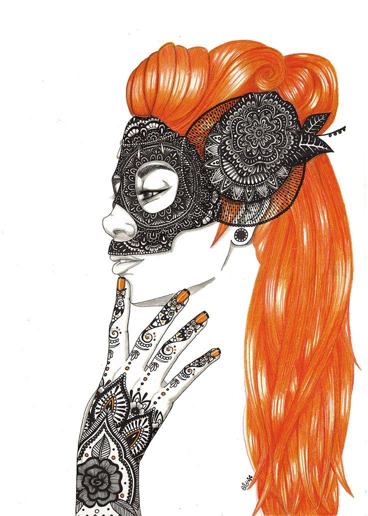 Lady orange. Masks series https://www.behance.net/eivanafer51df