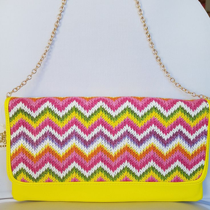 NEW Bright Pink Zig Zag Clutch Bag with Gold Shoulder Strap KoKo