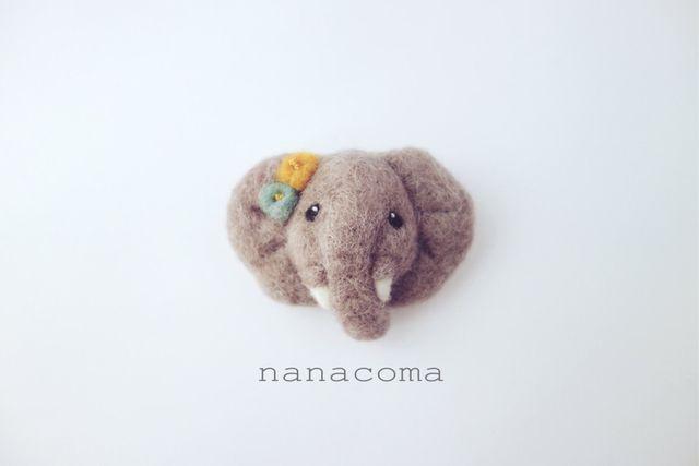 羊毛ゾウのお顔ブローチ