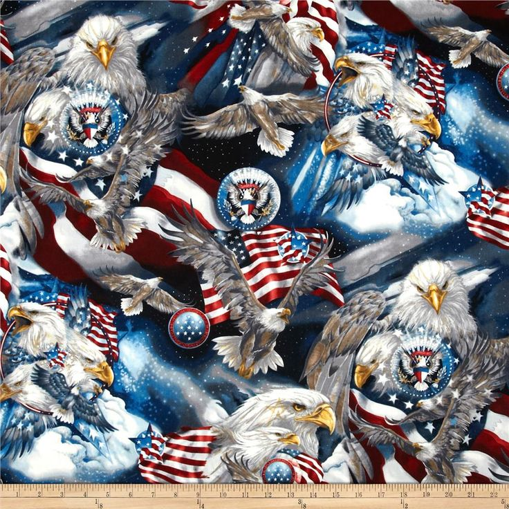 Patriots Eagles Americana from @fabricdotcom  Designed by Jody Bergsma for Robert Kaufman, this fabric is perfect for quilting, apparel and home décor accents.  Colors include shade of midnight blue, red, white, pewter, and yellow.