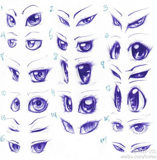 Different Eye Shapes  Looks Reference Sheet. This sheet features a very interesting style of drawing.