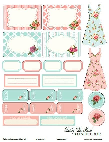 shabby chic floral peach teal prev Free Printable Download Shabby Chic Floral II Journaling Elements