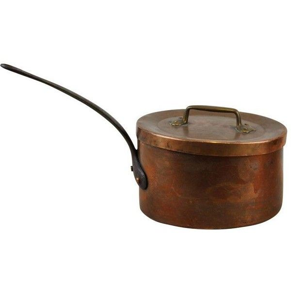 Vintage French Rustic Farmhouse Copper Saucepan Pot & Lid ($180) ❤ liked on Polyvore featuring home, kitchen & dining, cookware, kitchen accessories, copper kitchen accessories, copper saucepans, copper sauce pan, copper cookware and copper pot