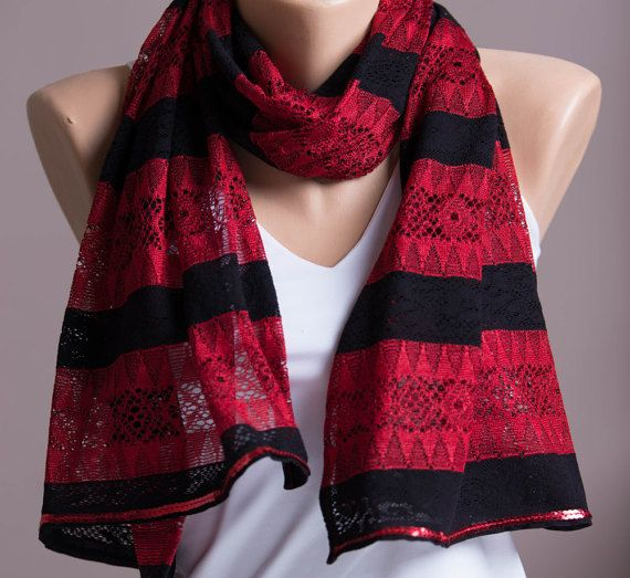 Red And Black Lace Scarf,Summer Scarf,Spring Scarf,Scarves For Women,Fashion Accessories,Womens Scarves,Sequins Trim Scarf,Gift For Her