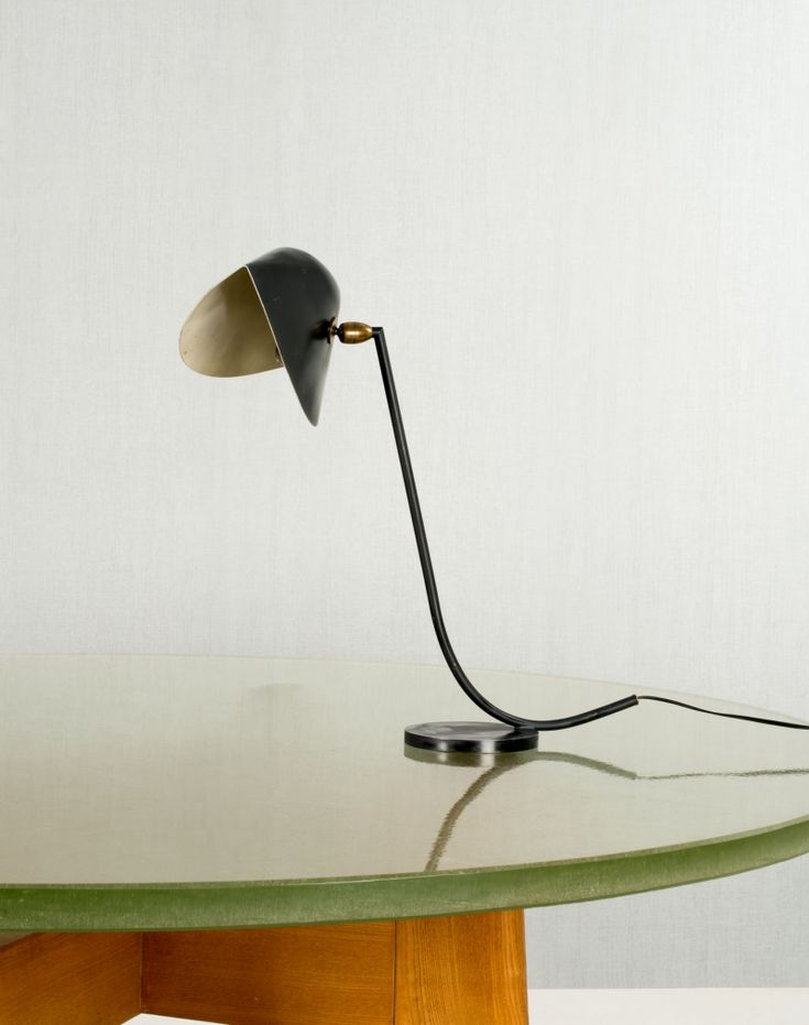 Serge Mouille; Enameled Steel, Enameled Aluminum And Brass U0027Antonyu0027 Table  Lamp,
