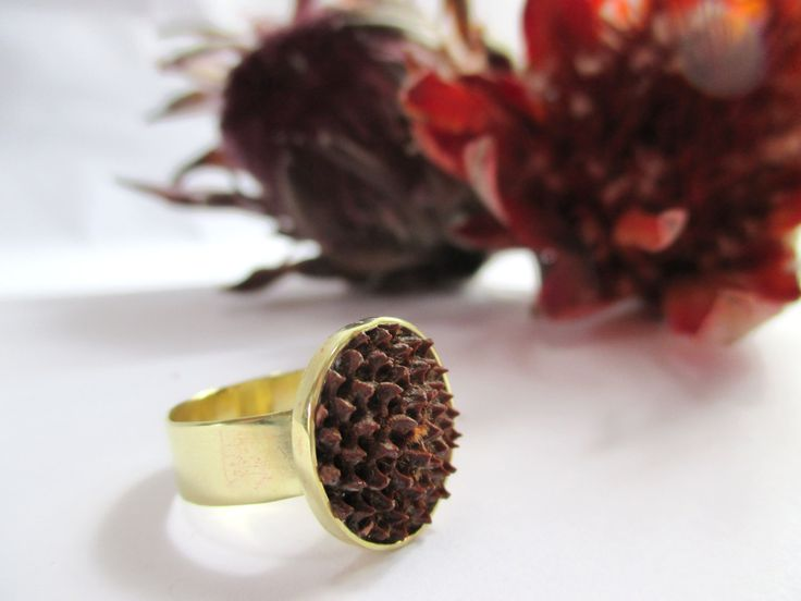 Brass Protea Seed Pod Ring by Picossa on Etsy