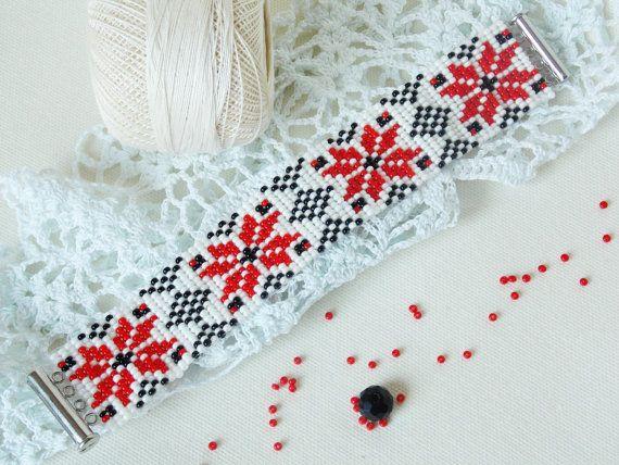 Weaving bracelet Ornament bracelet Ukrainian bead bracelet Hippie colorful bracelet Loom bracelet Red floral bracelet Gift teen girl