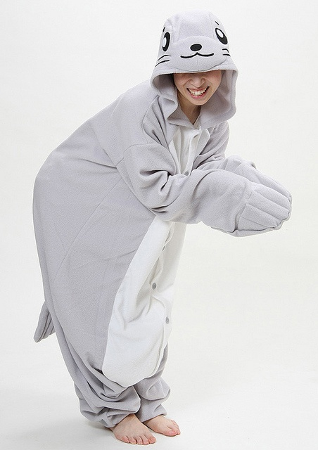 How cool are these are these animal onesies? :)Seal Adult Onesie Pajamas