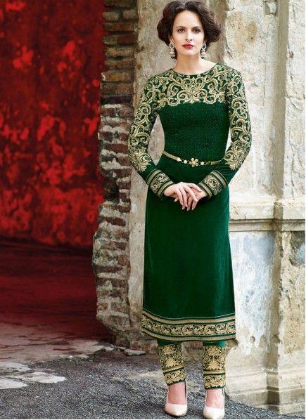 Green Micro Velvet Churidar Kameez