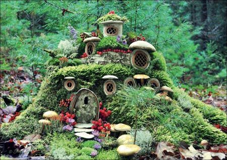 Mossy Fairy Manor using a stump and boy do we have some stumps!