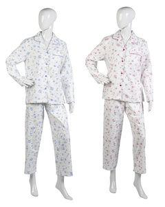 Ladies Slenderella Floral Pyjamas UK 10-22 (White with Blue or Pink Flowers)