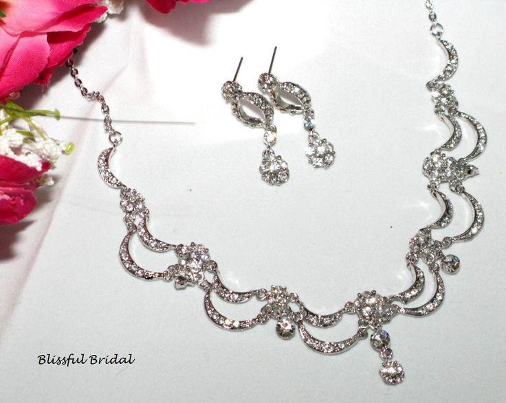 Wedding Necklace Set, Bridal Necklace Set, Wedding Necklace and Earring Set, Crystal Necklace Set, Wedding Jewelry Set, Bridal Jewelry by BlissfulBridalShop on Etsy https://www.etsy.com/listing/195978655/wedding-necklace-set-bridal-necklace-set