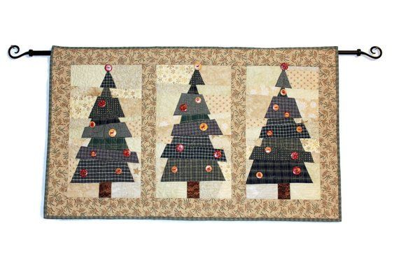 Crazy Christmas Tree Quilted Wall Hanging Green Plaid Pine Trees With Button Embellishments Scrappy Quiltsy Handmade Patchwork Quilt Tree Quilt Christmas Tree Quilted Wall Hanging Christmas Tree Quilt