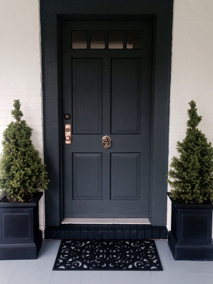 Front door painted in farrow ball down pipe porch Dark green front door paint