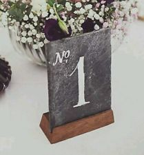 1 x Natural Slate  Wedding Table Number  with wooden holder. Hand painted.