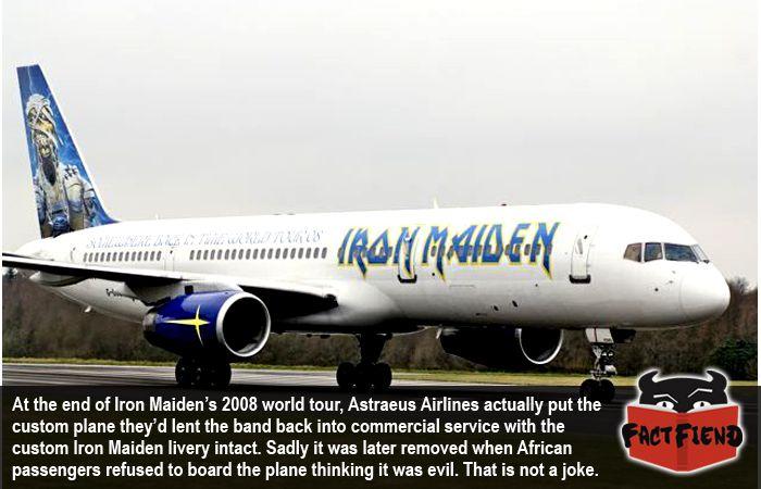 Iron Maiden's Plane Kept Its Livery When It Was Put Back Into Service - http://www.factfiend.com/iron-maidens-custom-plane-went-back-service-tour/ - #IronMaiden, #Pilot, #Plane