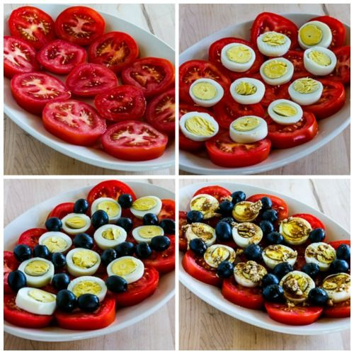 Tomato, Egg, and Olive Salad Recipe with Gorgonzola Vinaigrette found on KalynsKitchen.com.