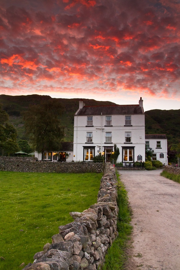Sunset over Brook House Inn at Boot in the English Lake District.