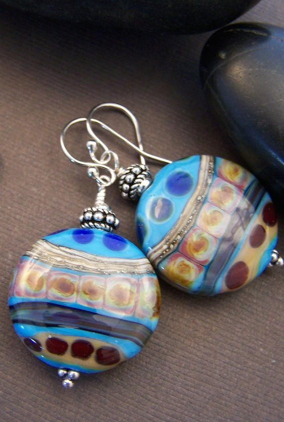 f8cdb8377 Passages Beaded Earrings Lampwork Glass Bead and Sterling   Etsy ...