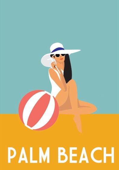 Palm Beach, Florida beach travel poster / print - Custom Canvas Company beach ball