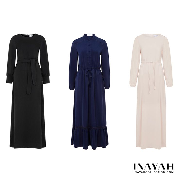 What's your favourite dress? 1, 2 or 3? Comment below!  Black Tie Front Maxi #Dress + Navy Shirt Dress with #Lace + Maxi White Cotton Slip #Dress. Shop the look online and at our store! www.inayah.co