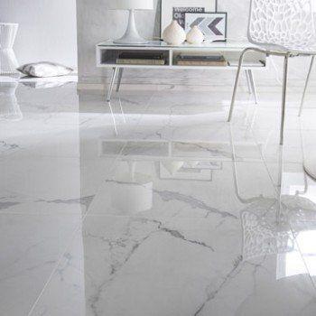 Carrelage sol et mur blanc effet marbre Rimini l.60 x L.60 cm   Leroy Merlin