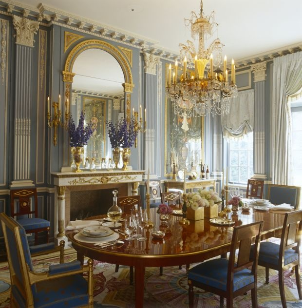 Neo Classical Dining In Blue And Gold
