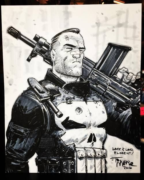 Pretty happy with this Punisher commission from @comicconparis.  #punisher #frankcastle #marvel #art #artist #sketch #drawing #comics #comiccon #geek #paris #france #copic #raphaelbrushes #strathmore